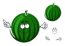 Gestreifter grüner Wassermelonencharakter der netten Karikatur Lizenzfreies Stockfoto