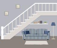 Gestreiftes Blaues Sofa Mit Den Kissen, Gelegen Unter Der Treppe Stock  Abbildung