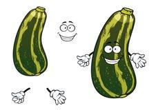 Gestreiftes grünes Zucchinigemüse der Karikatur Stockfotos