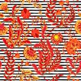 Gestreiftes nahtloses Muster Blumentapete des Handabgehobenen betrages Bunte dekorative Grenze Stockfotografie