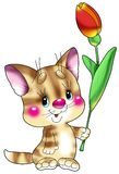 Gestreiftes, rotes Kätzchen mit dem b Lizenzfreies Stockbild