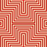 Gestreiftes rotes weißes nahtloses Muster Eckige Linien Beschaffenheitshintergrund der abstrakten Wiederholung Stockfoto