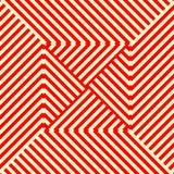 Gestreiftes rotes weißes nahtloses Muster Eckige Linien Beschaffenheitshintergrund der abstrakten Wiederholung Lizenzfreie Stockfotos
