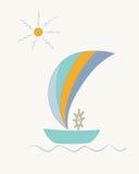 Gestreiftes Segelschiff mit einem Lenkrad unter der Sonne Stockfotografie