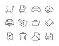 Gestreken Document en documenten pictogrammen Royalty-vrije Stock Foto's