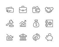 Gestreken Financiële geplaatste pictogrammen. Royalty-vrije Stock Fotografie