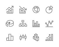 Gestreken Grafiek en diagrampictogramreeks. Stock Foto's