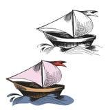Gestrichelte Zeichnung von Segelbooten auf den Meereswellen lizenzfreie abbildung