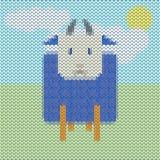 Gestrickte blaue Schafe der lustigen Karikatur auf dem Gebiet Stockbilder