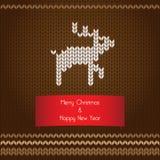 Gestrickte Karte des Vektors Weihnachten Lizenzfreie Stockbilder