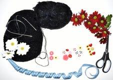 Gestrickte Produkte mit Liebe Stockbild