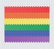 Gestrickte Regenbogenmarkierungsfahne Stockbilder