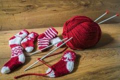 Gestrickte Socken Weihnachtslieder Stockbilder