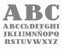 Gestrickter Guss, Grau, spanisches Alphabet, Vektor Lizenzfreie Stockbilder