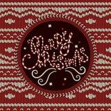 Gestrickter Hintergrund der frohen Weihnachten Stockfoto