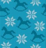 Gestrickter Hintergrund mit Bild von Schneeflocken und ho Stockfotografie