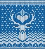Gestrickter Winterrotwild-Blauhintergrund stock abbildung