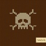 Gestricktes nahtloses Muster oder Hintergrund mit dem Schädel Lizenzfreie Stockfotos