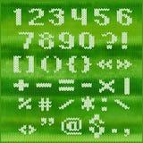 Gestricktes Vektoralphabet, weiße mutige GROTESK-Buchstaben Teil 2 - Zahlen und Interpunktion Lizenzfreies Stockbild