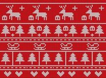 Gestricktes Weihnachten auf rotem Hintergrunddesign Lizenzfreies Stockbild