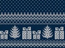 Gestricktes Weihnachts- und des neuen Jahresmuster Lizenzfreie Stockbilder