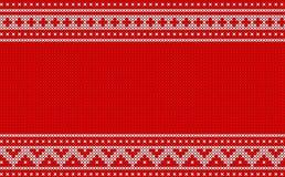 Gestricktes Weihnachtsmuster auf rotem Hintergrunddesign Stockfotografie