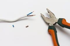Gestripte buigtang en elektrische kabel Stock Foto's