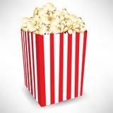 Gestripte doos popcorn Stock Foto's