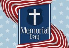 Gestripte Vlaggen rond Blauw Lint die Amerikaans Memorial Day, Vectorillustratie herdenken Royalty-vrije Stock Afbeelding