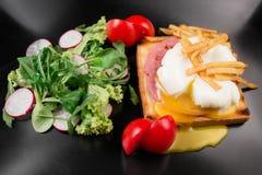Gestroopt ei op een stuk van brood met spinazie en aardappels Pashot stock fotografie
