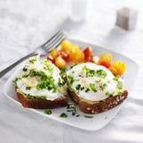 Gestroopte eieren en avocado op toost met tomaten stock afbeelding