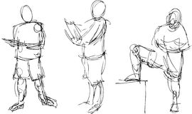 Gestural Drawings. Of the human figure in action Royalty Free Stock Image