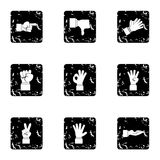 Gestural icons set, grunge style. Gestural icons set. Grunge illustration of 9 gestural vector icons for web Royalty Free Stock Photos