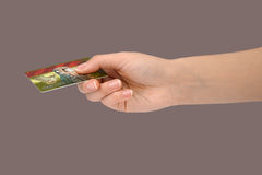 Gesture 11 (credit card) Royalty Free Stock Photography