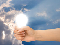 Gesture 12a. Hand with a light bulb royalty free stock photography