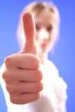 Gesture of approval. The girl shows gesture of approval to something stock images