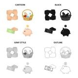 Gesture of charity, a basket of food, a monetary donation, a piggy bank. Charity and donation set collection icons in. Cartoon black monochrome outline style Royalty Free Stock Photo