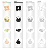Gesture of charity, a basket of food, a monetary donation, a piggy bank. Charity and donation set collection icons in. Cartoon black monochrome outline style Stock Images