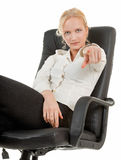 Gesture of choice. Woman in business clothing show gesture of choice Stock Photography