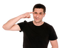 Gesture crazy. Man in black T-shirt shows gesture crazy isolated on white background Royalty Free Stock Images