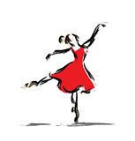 Gesture dancer drawing. Dancing girl in red dress, classic style royalty free illustration