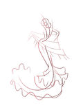 Gesture drawing flamenco dancer expressive pose Stock Photo