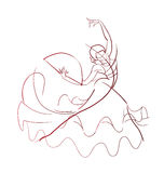 Gesture drawing flamenco dancer expressive pose Stock Image