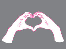 Gesture. Female hands in the form of heart. Stock Image