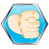 Gesture fig on button. Indecent gesture by hand fig on button of the blue colour Stock Image