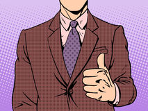 Gesture of good quality. Thumb up retro style pop art business concept Royalty Free Stock Image