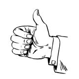 Gesture is great hand thumb quality hitchhiking retro line art Stock Photos