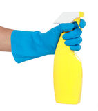 Gesture of hand with cleaning sprayer Royalty Free Stock Images