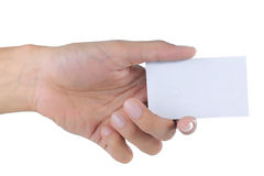 Gesture of hand giving card Royalty Free Stock Images
