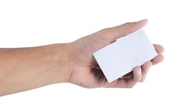 Gesture of hand giving card Royalty Free Stock Photo
